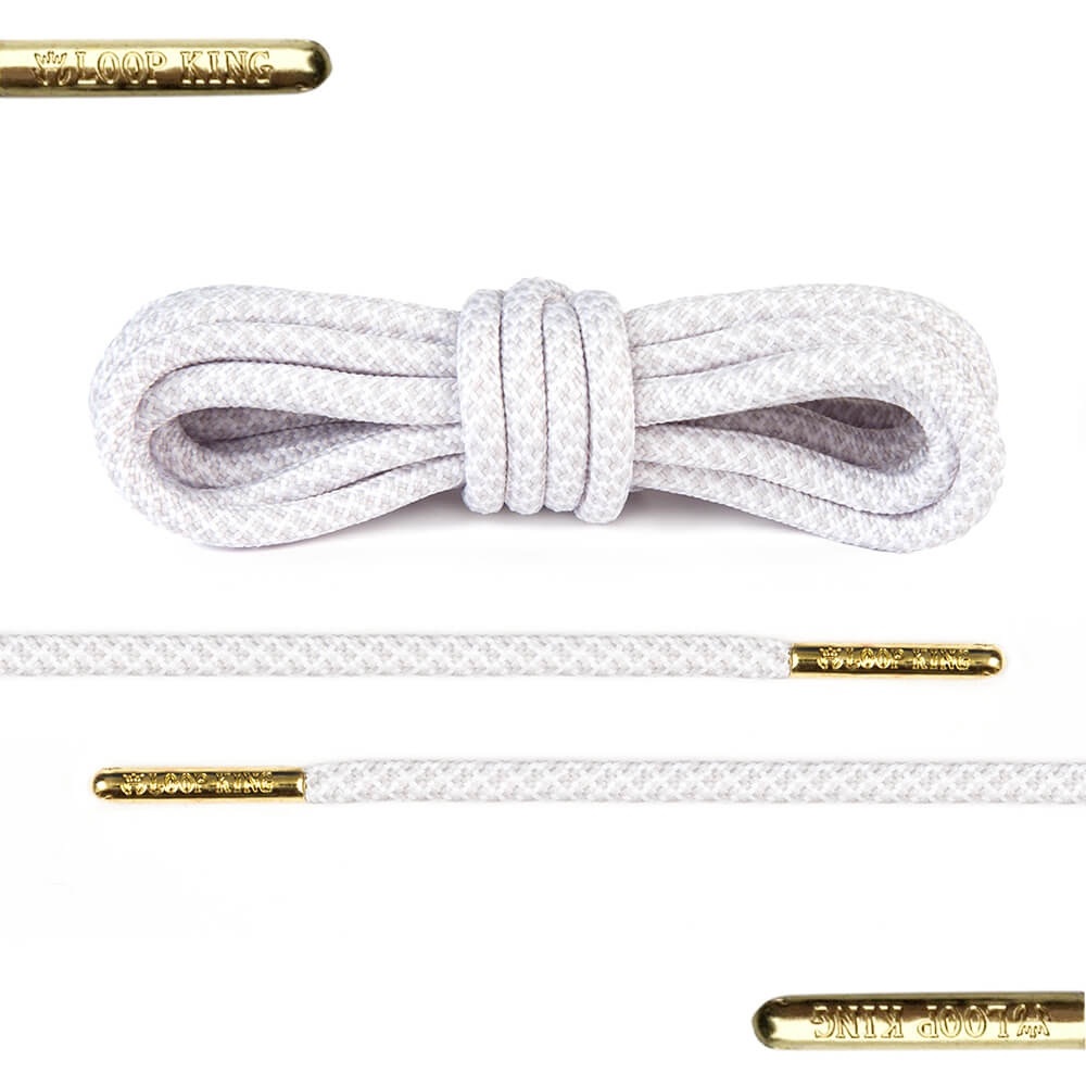 rope white grey shoe laces with gold tips