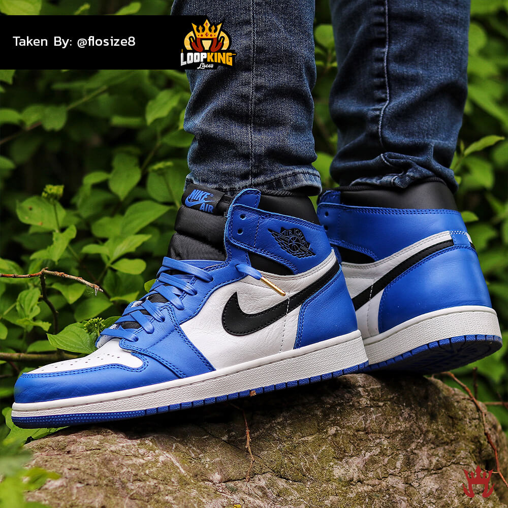 royal blue leather laces on game royal jordan 1 2