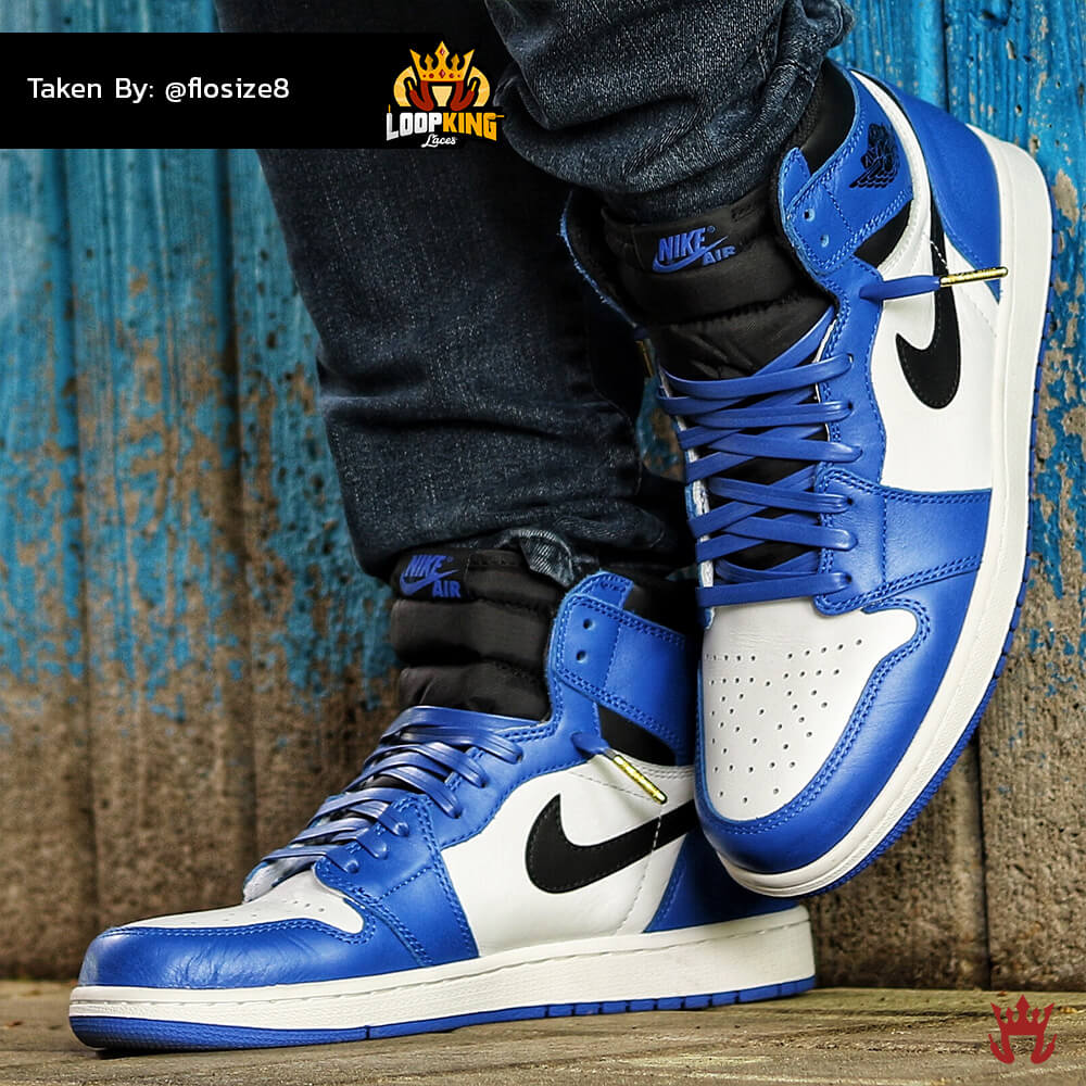 royal blue leather laces on game royal jordan 1