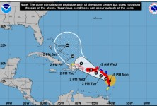 Hurricane Maria forecast track at 5 pm on Monday, September 18.  (Source: US National Hurricane Center)