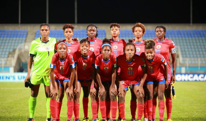 L'équipe haïtienne féminine U-20 gagne son premier match dans la compétition aux dépens des Trinidadiennes, 3-2. Photo; Facebook Concacaf