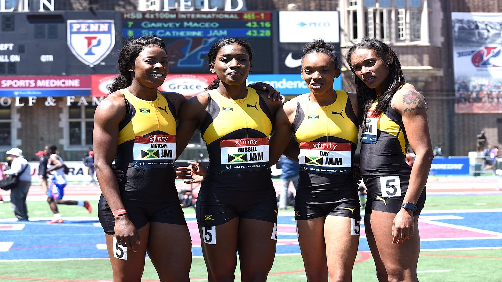 Jamaica's women's 4x400m team (from left) Shericka Jackson, Janieve Russell, Christine Day and Stephenie McPherson.