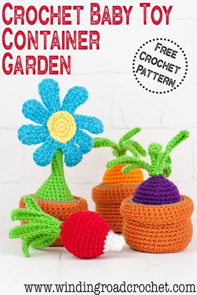 Crochet Baby Toy Container Garden