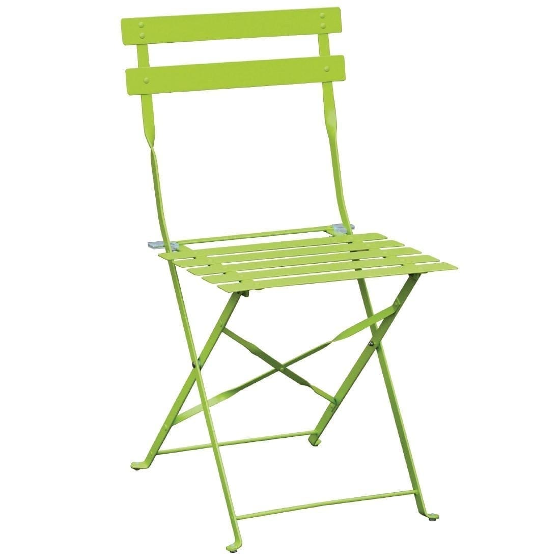 Lime Green Chairs Bolero Lime Green Pavement Style Steel Chairs Pack 2