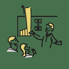 急成長するグラフを説明するイラスト