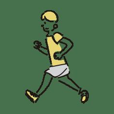 走る若い男性のイラスト