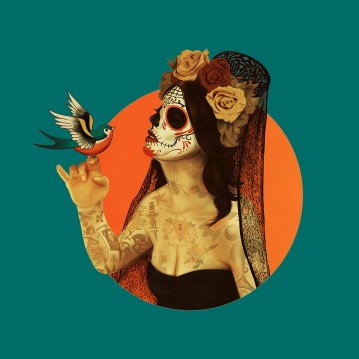 CALAVERA PRINCESS | A pin up inspired by old school tattoos and the dia de los muertos tradition
