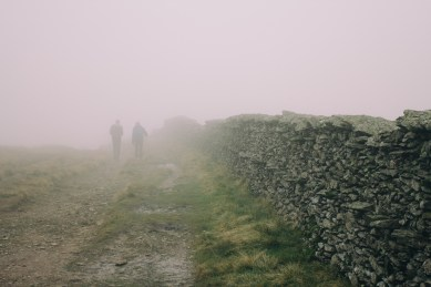 The fog on most of the walk down and up.