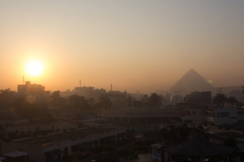 The view of the pyramids from our first hotel