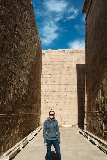 Caitlin in the temple at Edfu