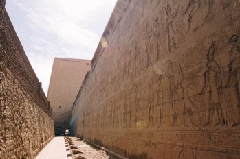 The walls of Edfu temple were absolutely covered in carvings. This temple was absolutely huge and there was hardly anyone else at the site.