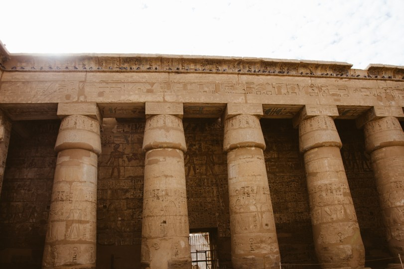The temple of Medinet Habu was preserved due to being largely covered by sand.