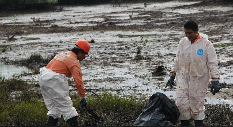Derrame de hidrocarburos en laguna de Oaxaca - Foto de Quadratín