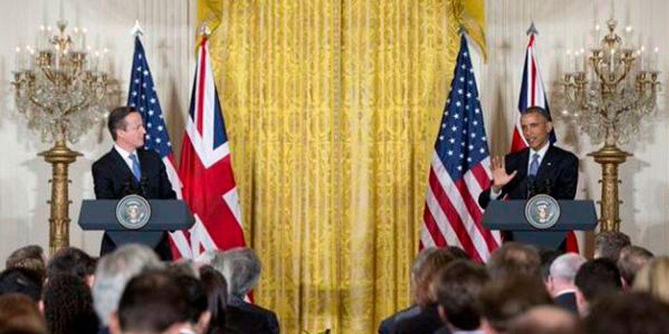 Obama y Cameron prometen apoyo a Francia - David Cameron, primer ministro británico y Barack Obama, presidente de Estados Unidos