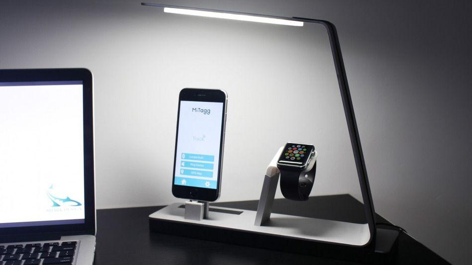 Lámpara LED que carga iPhone y Apple Watch - lampara led