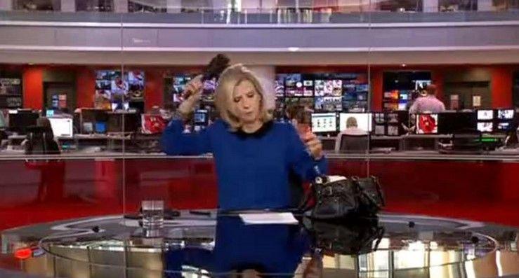 Video: presentadora de televisión se peina al aire - Foto de BBC