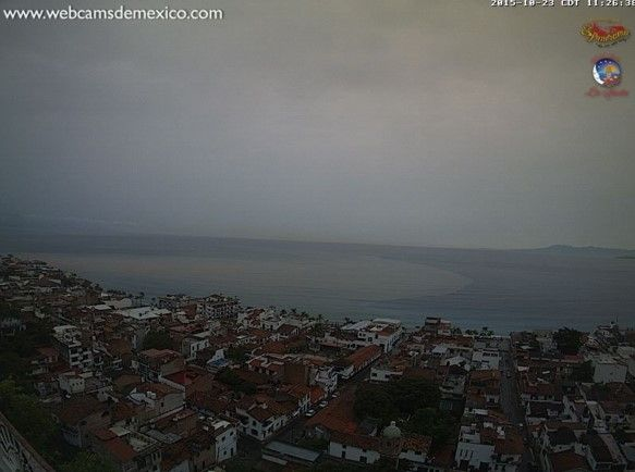 Huracán Patricia en Puerto Vallarta. Foto de Webcams de México