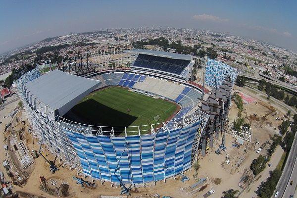Boca Juniors será el invitado para reinaugurar el estadio Cuauhtémoc - Vista aerea de los trabajos de remodelación en el Estadio Cuauhtémoc.//, Foto: Enfoque