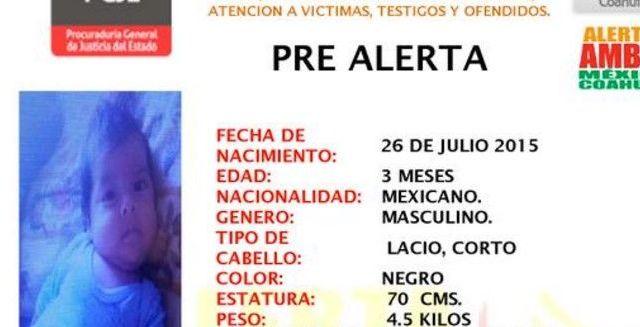 Roban a bebé en centro comercial de Coahuila - Alerta Amber Coahuila busca a bebé robado - Foto de Twitter