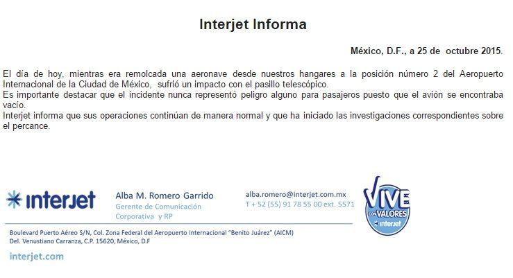 Comunicado Interjet - Foto López-Dóriga Digital