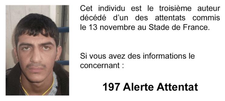 Policía francesa publica foto de tercer atacante de París