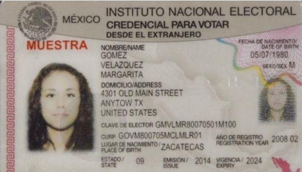 INE publica modelo de credencial para votar desde el extranjero - Foto de internet