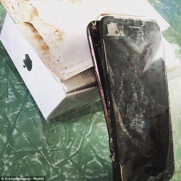 Usuario reporta que le entregaron un iPhone 7 Plus destruido - Foto de Reddit