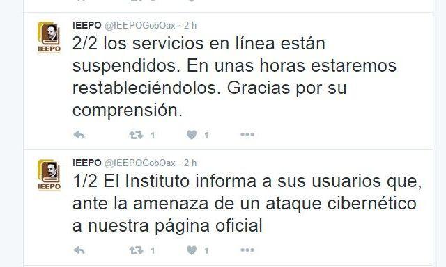 Hackean la página web del IEEPO