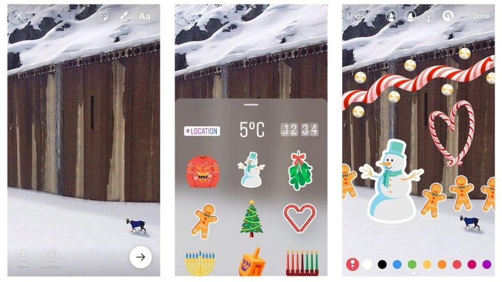 Instagram añade filtros y stickers navideños