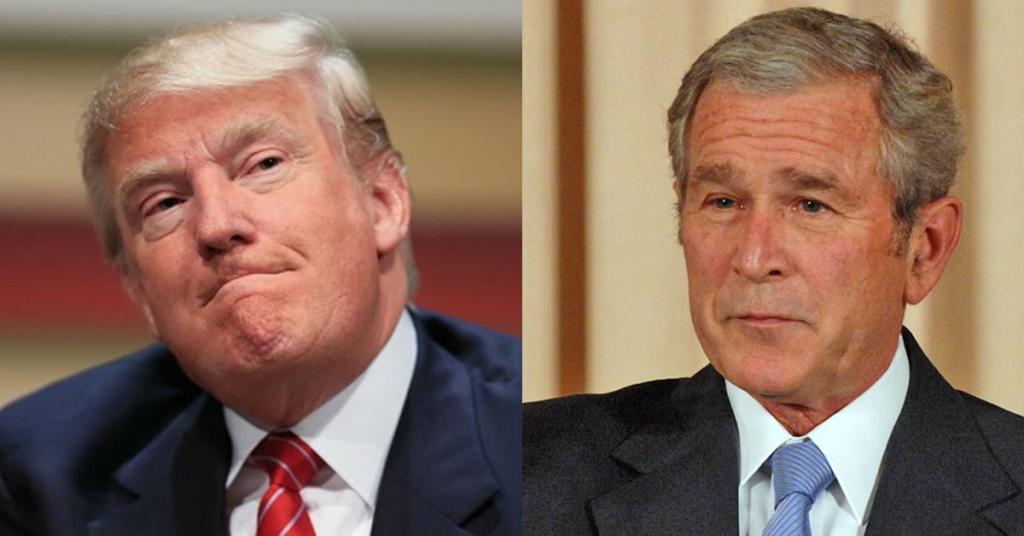 George W. Bush critica a Donald Trump - Foto de archivo