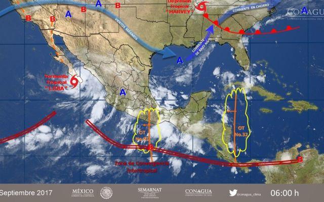 Se mantiene alerta roja en BCS y Sinaloa por Lidia - Foto del SMN
