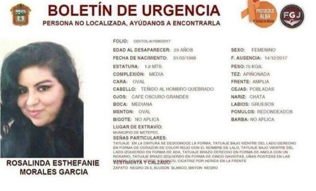 Encuentran cadáver de mujer desaparecida en elEstado de México
