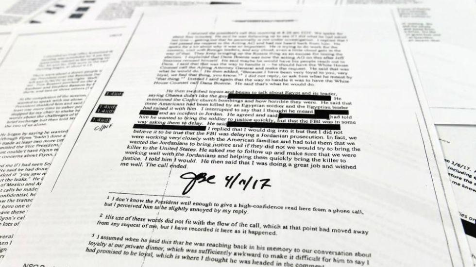 Dan a conocer documentos de conversaciones de Trump con Comey - Foto: AP.