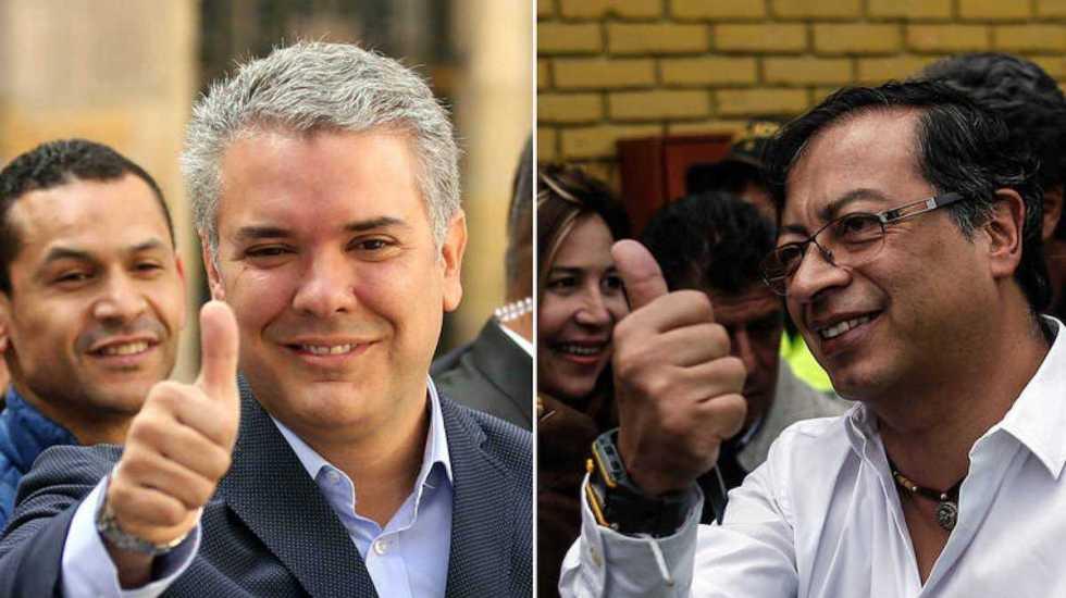 Iván Duque y Gustavo Petro, a la segunda vuelta en Colombia