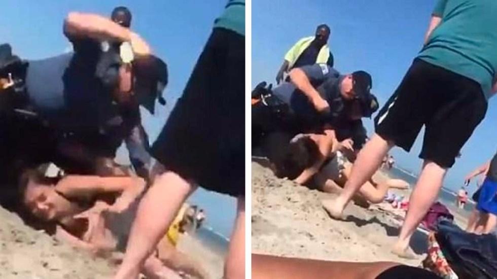 #Video Policía golpea brutalmente a menor de edad en la playa