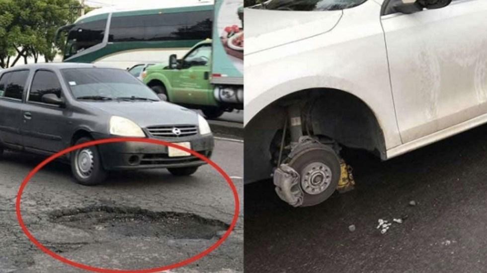 Bache en Constituyentes deja más de 20 vehículos averiados - Foto de Excélsior
