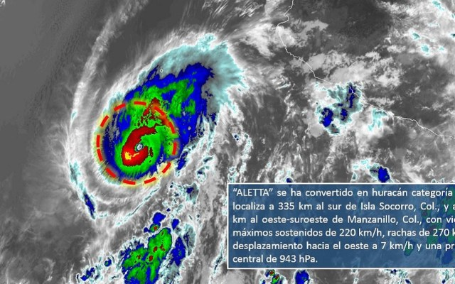 Huracán Aletta sube a categoría 4 - Foto de @conagua_clima