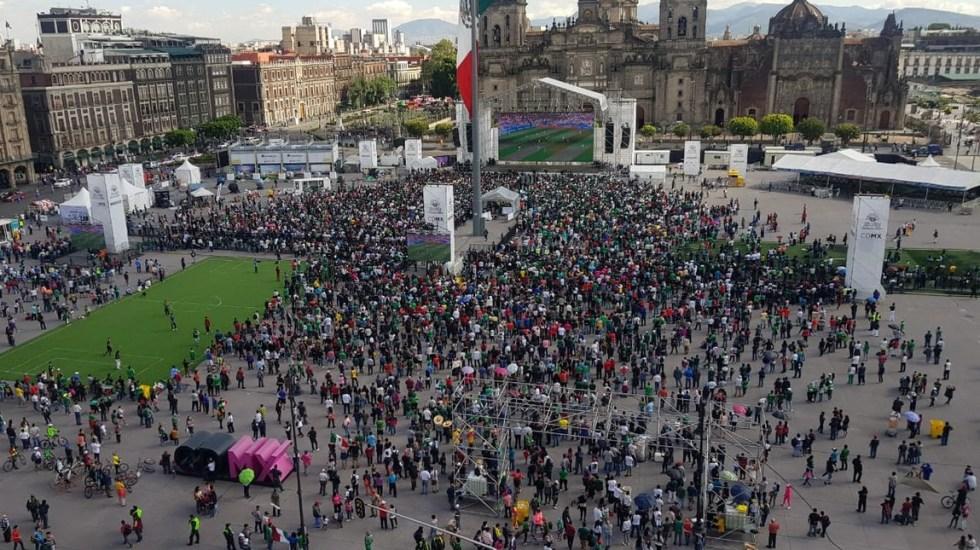 Así se vivió la victoria de México en el Zócalo - Foto de @SSP_CDMX