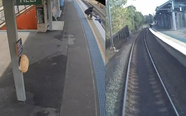 #Video Dramático momento en que un hombre cae a vías de tren y se salva de ser arrollado - Foto de Youtube