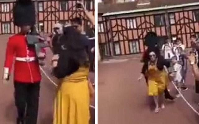#Video Guardia real de Windsor empuja a turista