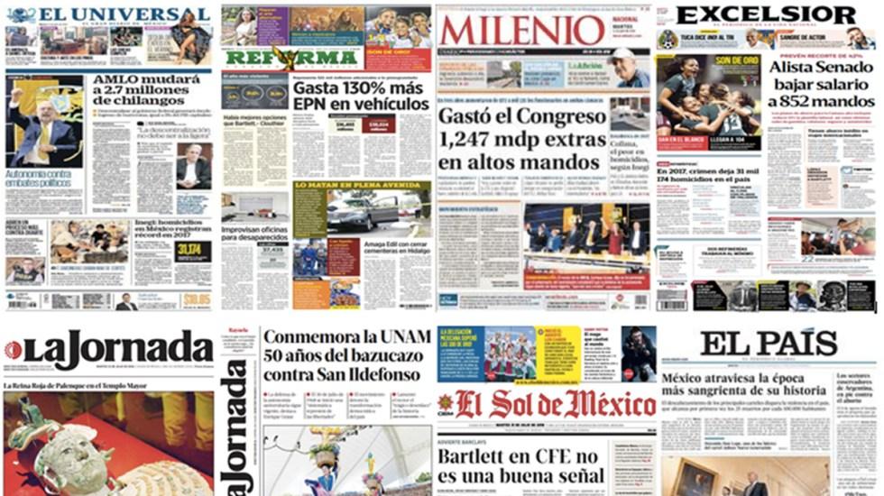 Manuel Bartlett y López Obrador en las primeras planas del martes