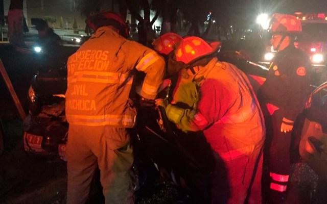 Ebrio choca contra patrulla y deja dos policías heridos en Pachuca - Foto Especial