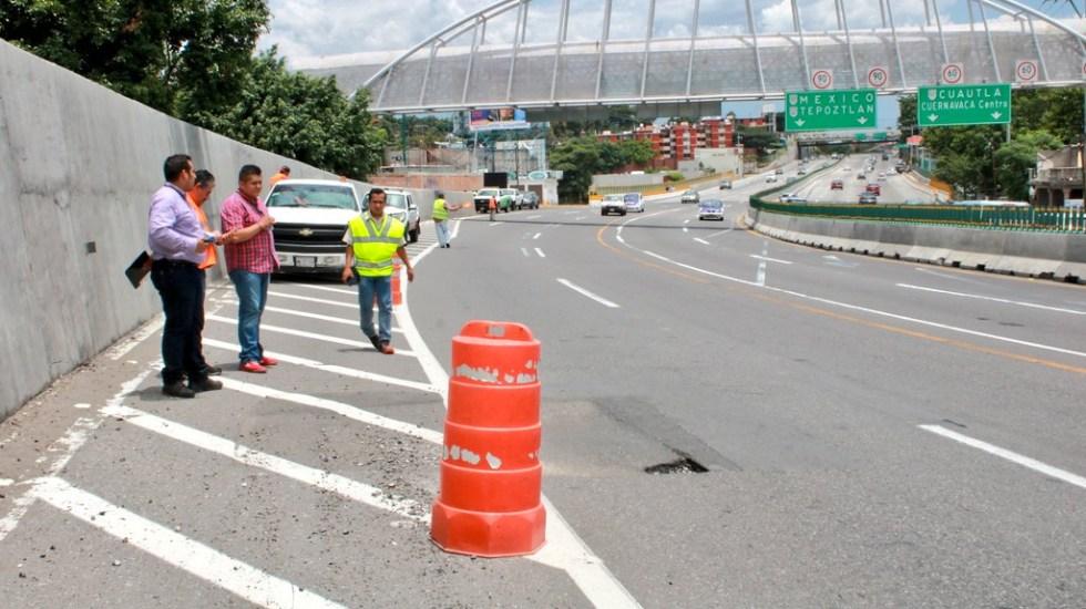Nuevo hundimiento en el Paso Exprés de Cuernavaca - Foto de @PC_Morelos