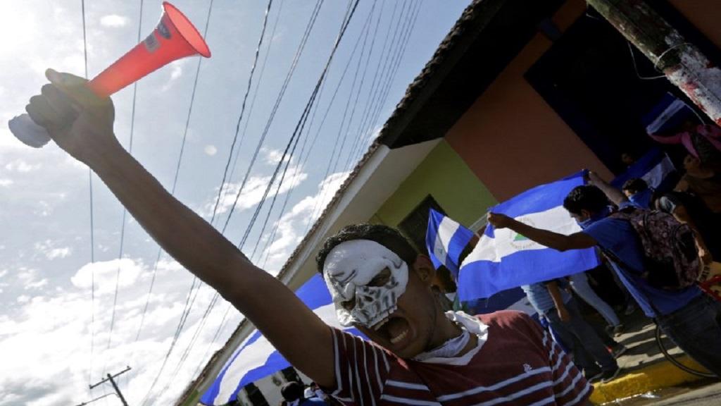 Manifestación sandinista en Nicaragua en apoyo al presidente Daniel Ortega