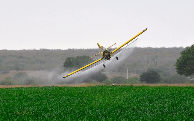 Avión pequeño rocía líquido para fumigar a niños de kínder - Foto de Internet