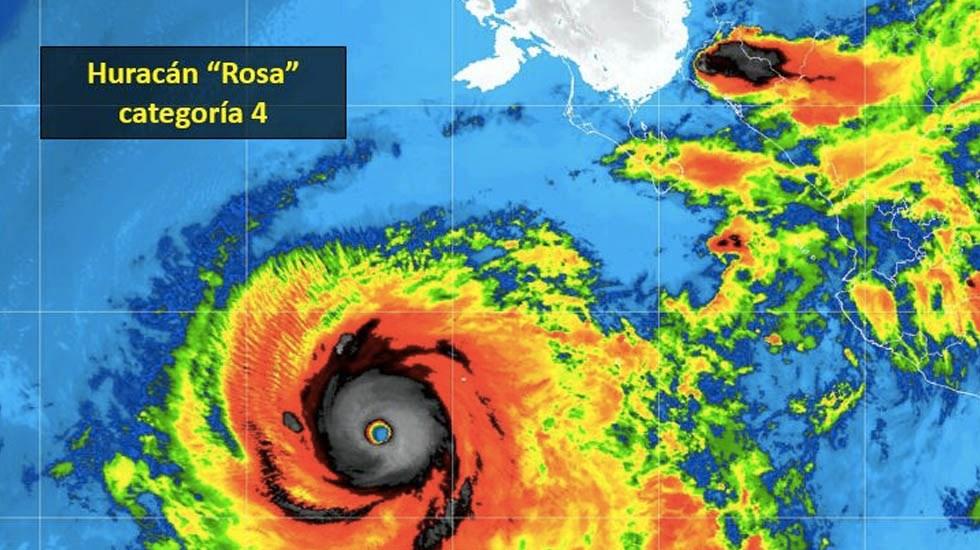 Rosa se intensifica a huracán categoría 4 - Foto de Conagua