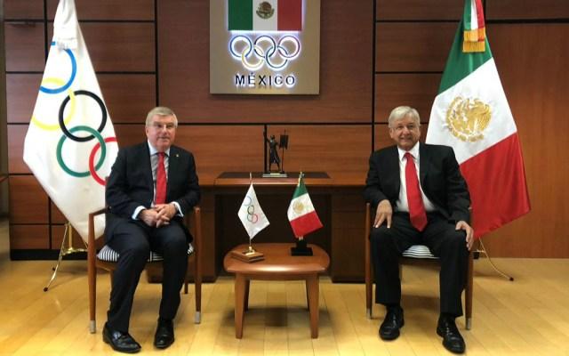 López Obrador se reúne con el presidente del COI - El encuentro ocurrió en la sede del Comité Olímpico Mexicano. Foto de Internet