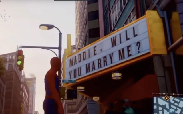 Propuesta de matrimonio escondida en juego de Spider-Man fracasa - Captura de Pantalla