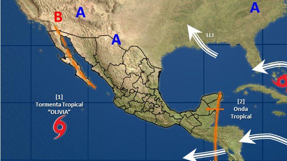 Tormenta tropical Olivia se ubica al suroeste de Península de BC - Foto de @conagua_clima