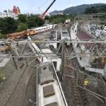 #Video Momento en que tren descarrila en Taiwán - Descarrilamiento de tren en Taiwán. Foto de AFP / Getty Images